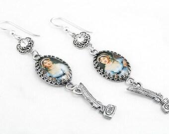 Jane Austen Earrings, Jane Austen Jewelry, Jane Drop Earrings , Silver Dangle Earrings