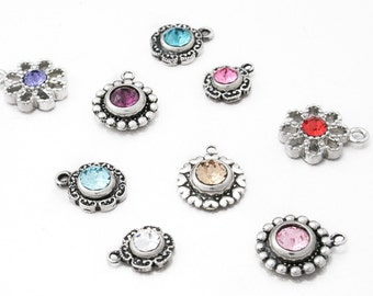 Add a Crystal Charm, Crystal Chaton Drop, Crystal Dangle, Birthstone Charm, Birthstone Crystal, Add On for jewelry only