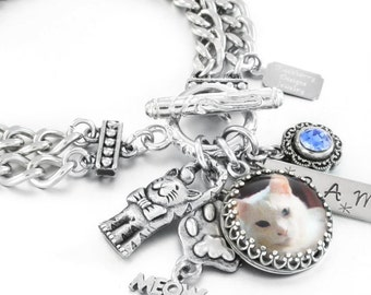 Cat Jewelry, Personalized Cat Photo, Pet Jewelry, Handstamped Cat Name, Your own Pet Photo, Custom Pet Photo