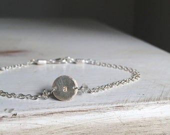 Shine On--Initial GOLD filled disc bracelet with silver chain