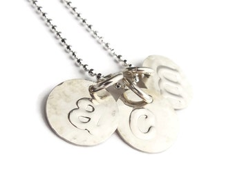 Personalized Mom 3 Kids Necklace | Initials Necklace | Silver Necklace | Mommy Jewelry | Mother And Child | Gift For Her | Mothers Day Gift
