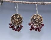 Pomegranate Earrings  Garnet and Sterling Silver