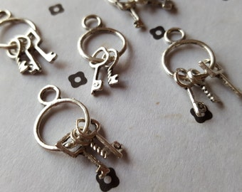 Antique Silver Key Ring Charms (5)