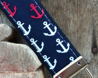 READY TO SHIP-Beautiful Key Fob/Keychain/Wristlet-Single Navy and Pink Anchors on Navy