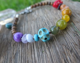 Rainbow Stone Bracelet - Skull Wood Turquoise & Gemstones -  Summer Fashion Wanderlust - Gypsy Bohemian - Hippie Hippy Chakra Gift for her