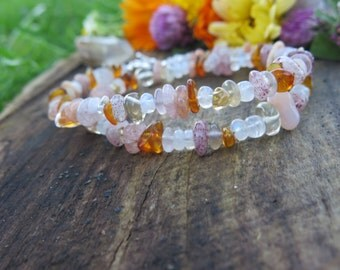 Sale - Boho Luxe - Double Wrap Stone Bracelet or Choker with Sterling Silver - Elephant Flower Charm - Pastel- Crystal Gemstone Moonstone