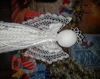 Beautiful Hand crochet White angel Tree topper Christmas decoration
