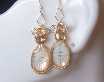 Perfect EGYPTIAN Scarab EARRINGS Mother of Pearl Carved 2 Tone Sterling Silver and 14k gold filled accents
