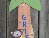 Wood Growth Chart JUNGLE FRIENDS - Hand Painted Keepsake - Baby Boy