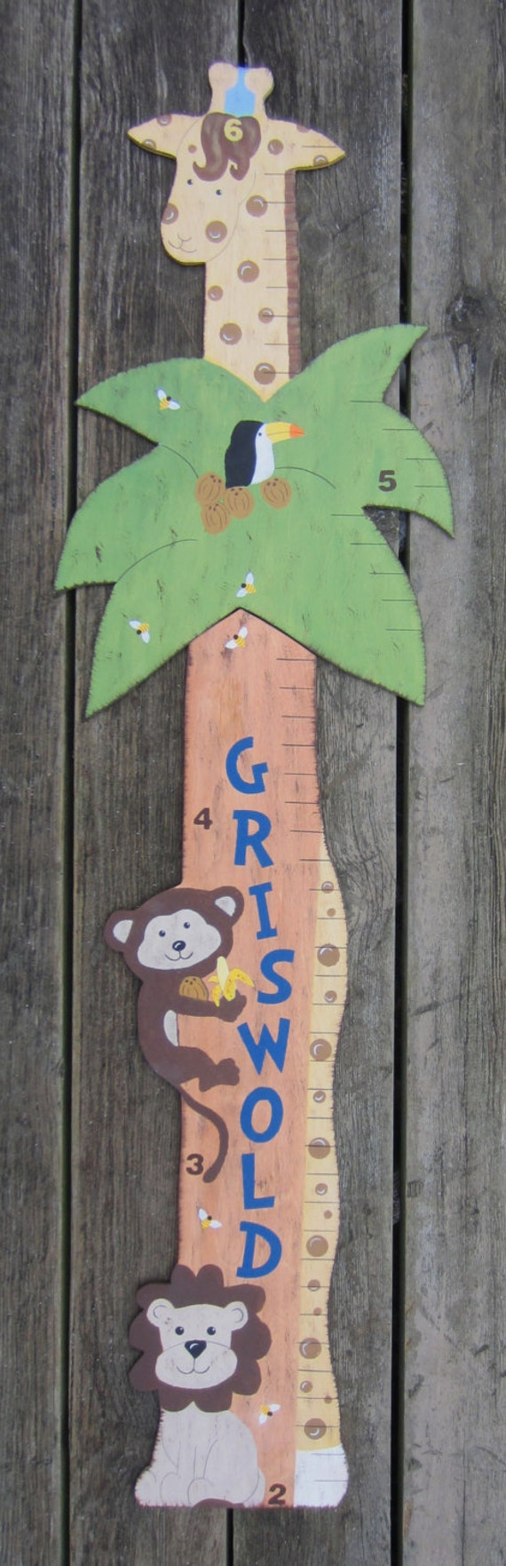 SPECIAL ORDER AMANDA Wood Growth Chart Jungle - Hand Painted Keepsake - Baby Boy