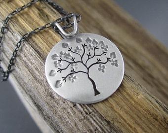 Handmade Sterling Silver Pendant - Springtime Tree in Michigan