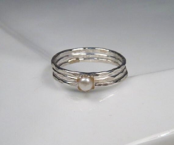 Freshwater pearl rings, sterling stack rings set of 3, hammered silver rings