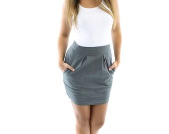 SALE Organic Cotton High Waist Skirt / Mini Skirt / Pleated Skirt / Mini Skirt with Pockets / Office Wear / Day Wear // Made in USA