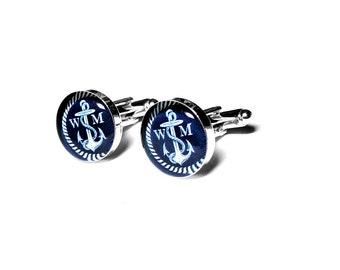 Nautical Anchor Custom Cufflinks, Grooms Gift, Beach Wedding, Fiance Gift, Anniversary, Navy, Custom Cufflinks, Personalized Cufflinks