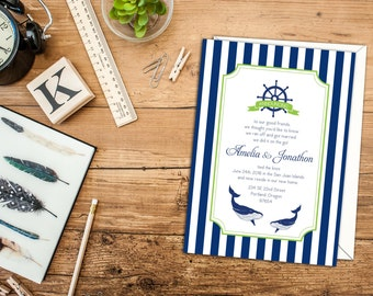 Nautical Stripes Elopement Announcement, Announcement You have Eloped, Nautical Invitation or Announcement, Beach Wedding or Announcement