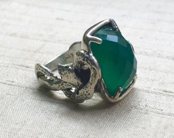 Emeralds and Green Onyx in Sterling- The Intertwining Snake Ring