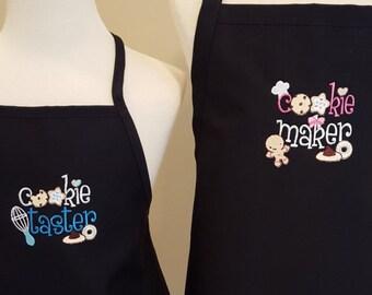 Black Apron set Cookie maker and Cookie taster apron set mommy and me apron set