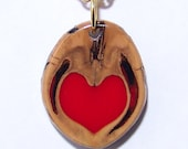 Heart and Walnut Shell Pendant Necklace Love in a Nutshell #6 OOAK and a Gold Chain with a choice of 2 sizes