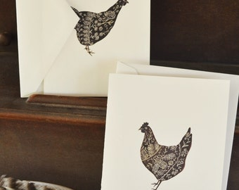 Two Hens Note Cards