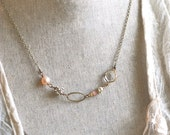 Pearl and rhinestone pink beaded necklace/valentines/wedding necklace. Tiedupmemories
