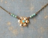 Minimalist gold flower turquoise necklace/layering necklace/tiny beaded/boho necklace. Tiedupmemories
