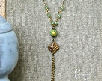 Boho fringe necklace /tassel necklace/ y necklace /boho jewelry. Tiedupmemories