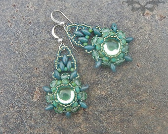 Sage Mandala Boho Beaded Earrings