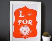L is for Lion print, alphabet risograph, modern nursery art