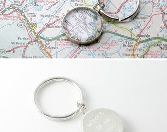 Hand Engraved Map Keychain