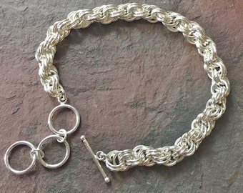 Silver Double Spiral Chainmaille Bracelet - Adjustable Silver Filled Rope Bracelet - Silver Chain Maille Link Bracelet - 216016