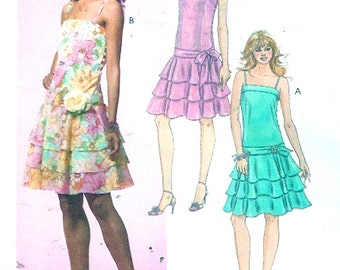 Dropped waist dress grad Prom Bridesmaid new Years party frock sewing pattern McCalls 4825 size 4 to 10 or 12 to 18 Uncut