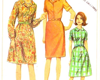 60s Mod dress Retro shift style frock with 2 skirts vintage sewing pattern Simplicity 6587 Bust 37 Half size