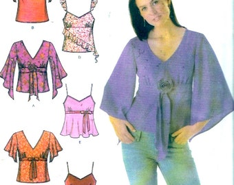 Boho festival tops Simplicity 4958 Sewing pattern fashion camisole flowing top variations Sz 12 to 18 Uncut