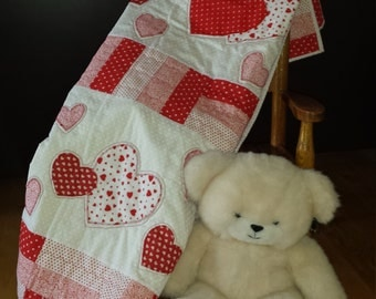 Handcrafted Quilted Heart Blanket