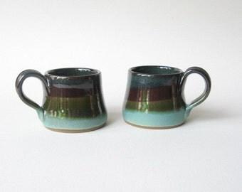 Stoneware Espresso Cups Demitasse Set of 2