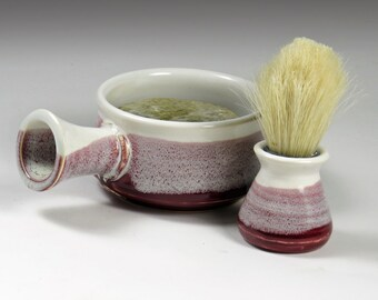 Pottery Shaving Mug - Marroon and White - Gift for Daddy - Lather Bowl - Ready to ship