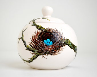 Birds Nest Sugar Bowl - Hand Painted Bluebird Eggs in Nest - Mother's Day Gift, Bluebird Nest, Blue Eggs, Painted Sugar Bowl, Bird Nest Bowl