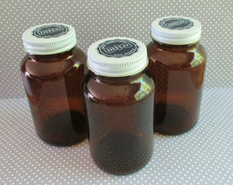 Three Vintage Difco Laboratories Amber Bottles With Metal Lids