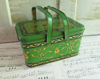 Vintage Green Basket Swan Tin