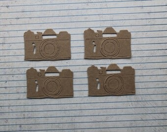 4 Camera chipboard Die Cuts 2 1/4 inches wide x 1 3/8 inches tall