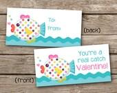 INSTANT DOWNLOAD - Valentine Treat Bag Topper - Fish - Under The Sea - Printable Digital File - Design 9