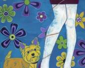 "Yorkie Art Large MATTED Print 16"" X 20"" - Retro Design by dogpop art"