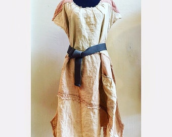 Linen Trails - Plus Size Loose Linen Dress, handmade OOAK Shabby Chic, cottage chic, hand dyed, tea stain, pale rose lagenlook women's dress