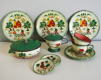 Toy Tea Set, 1950s Ohio Art Toy Dishes, Tin Miniature Tea Set, 16 Piece Country Charm, Vintage Doll Dish, Green Red Teacup Sugar Bowl Plates