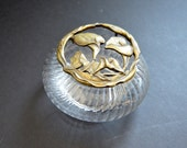 Calla Lily Rawcliffe Pewter Box with Lid for Jewelry, Trinkets -Clear &  Brass Round Glass Candy Dish Art Deco Style Glass Display Case