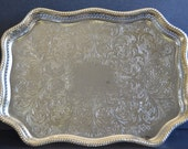 Mayfair Silver Plated Serving Tray -MADE IN ENGLAND Rectangular Silverplated Cocktail Tray Ornate Engraved Bar Cart Buffet Dessert Decor
