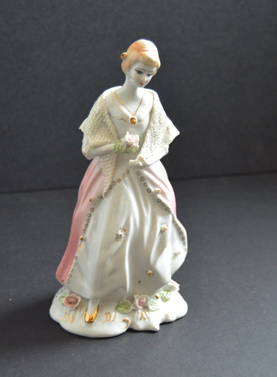 "Vintage European Porcelain Figurine -""Lady with a Rose"" - Marie Antoinette White Pink Dress Doll Vanity Room Figural French Country Statue"