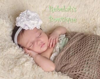 white baby headband, christening headband, baptism headband, handmade hair bows, flower headband, newborn headband, hair bows for girls, bow