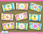 Luau party mini candy wrappers / luau birthday INSTANT DOWNLOAD / small chocolate wrappers #P-22- mini candy wraps - with editable text PDF
