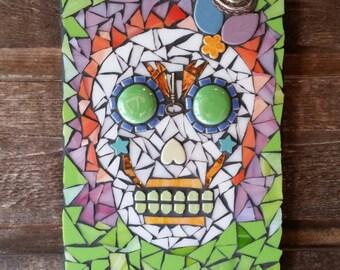 "Sold - Day of the Dead Mosaic Art- Original Handcrafted- "" La Muerte""  Mixed Media Mosaic skull art work"